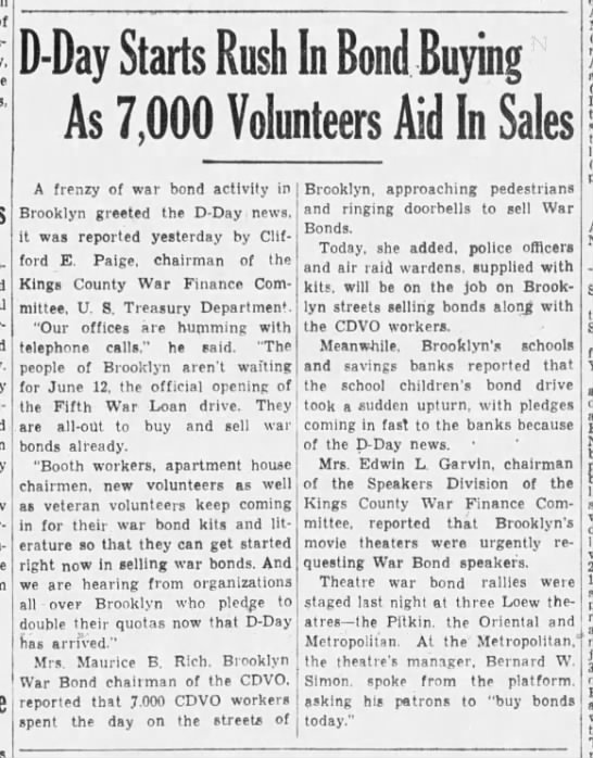 """""""D-Day Starts Rush In Bond Buying As 7,000 Volunteers Aid In Sales"""" -"""