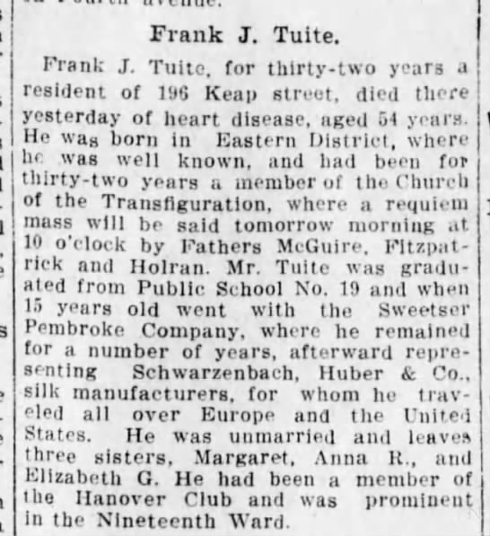 Death of Frank J. Tuite, b. 1858 -