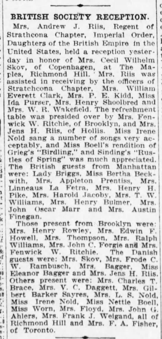 Stella Asling-Riis holds reception (1914) -