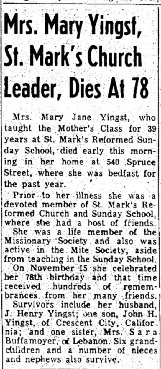 Mary Jane Bohr Yingst obituary; LDN 16 Dec 1955 page 1; http://www.newspapers.com/image/#5444222 -