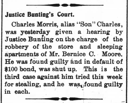 Charles Morris' trial - guilty, $100.00 fine -