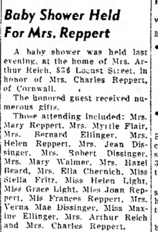 Arthur Reich's wife - baby shower LDN 1 Sep 1950, pg 8 -