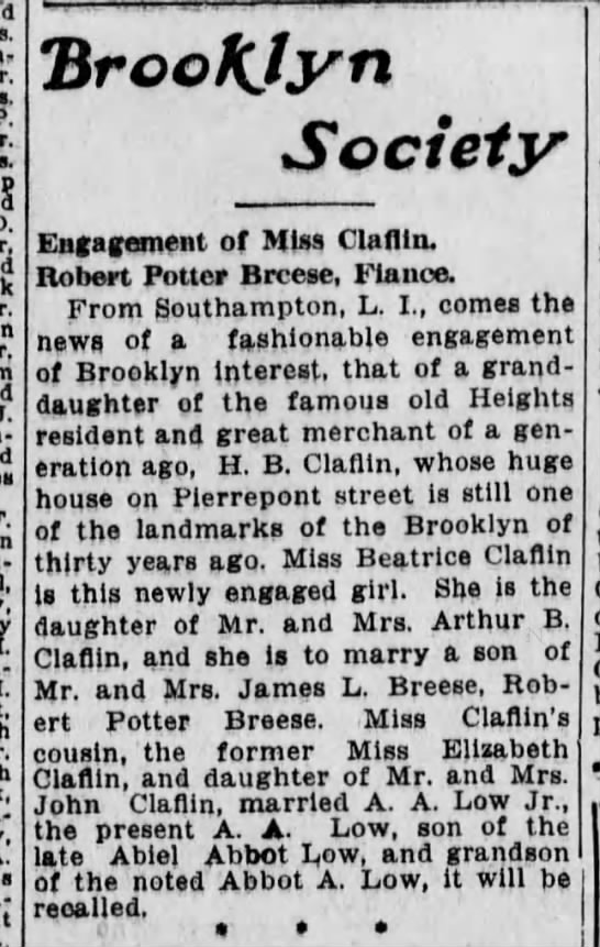 Engagement announcement, Robert Potter Breese & Agnes Beatrice Claflin, 10 Aug 1915. -