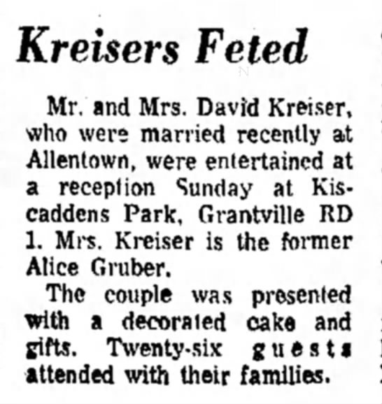 Kreiser & Gruber wed img 5455775 - Kreisers Feted Mr. and Mrs. David Kreiser, who...