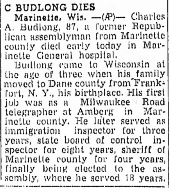 Charles Budlong (1859-1947) obit -