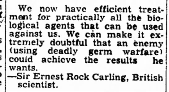 Ernest Rock Carling re: chemical weapons treatments (1951) -