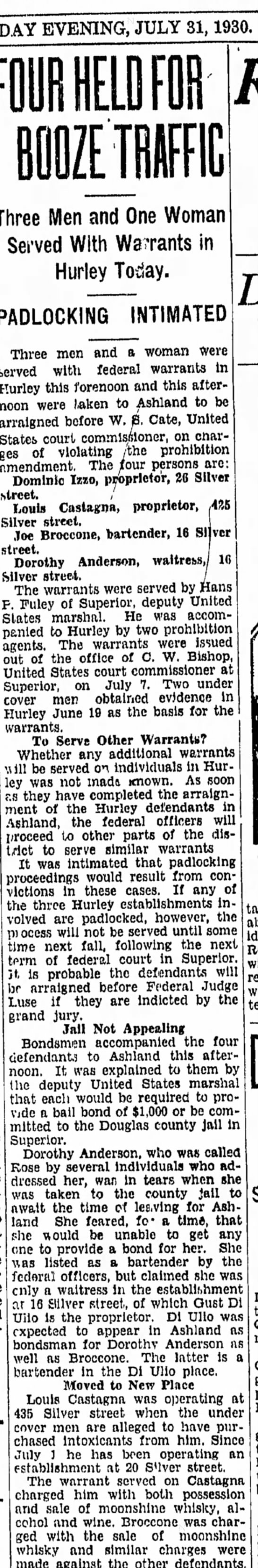 Ironwood Daily Globe, 31 July 1930, page 1 -