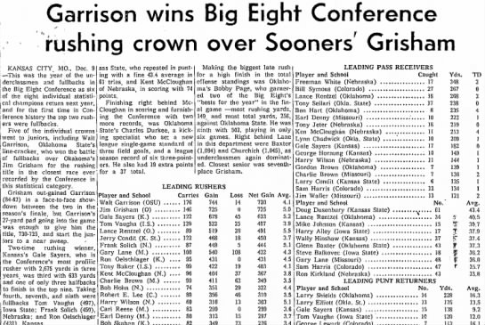 Garrison wins Big Eight Conference rushing crown over Sooners' Grisham -