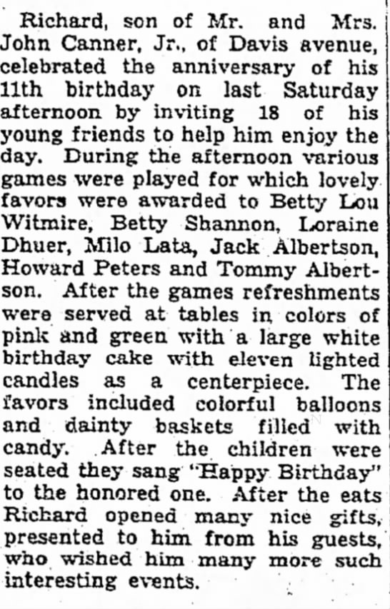 richard canner 11 birthday, see guests -