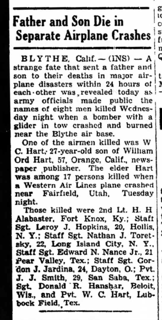 Front Page article re double airplane crash:  The Times (Hammond, IN) 18 Dec 1942 -