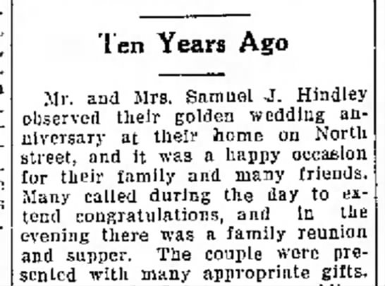Ten Years Ago | Mr. and Mrs. Samuel J. Hindley Anniversary party -