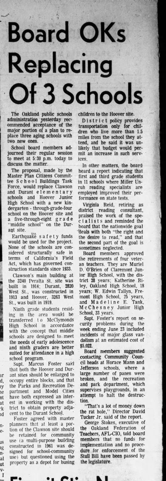 Board Ok's Replacing 3 Schools - Jul 06, 1972 -