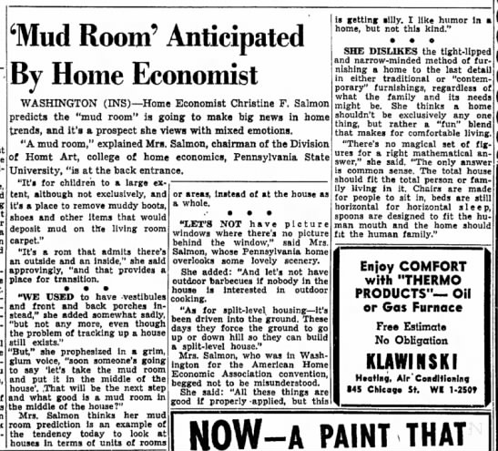 'Mud Room' Anticipated by Home Economist, The Times (Hammond, Indiana) July 10, 1956, p 17 -
