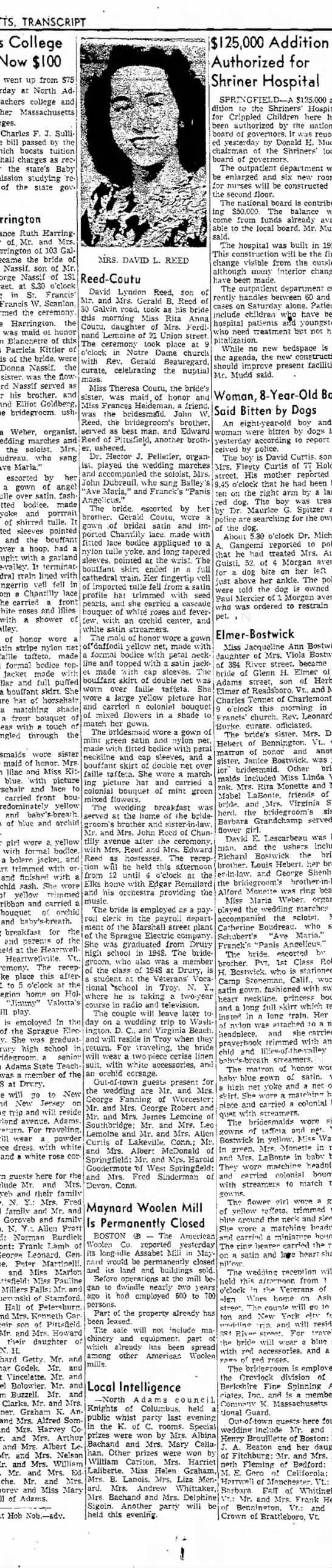 REED - COUTU WEDDING 6-28-52 UNCLE DAVID'S WEDDING - Newspapers com