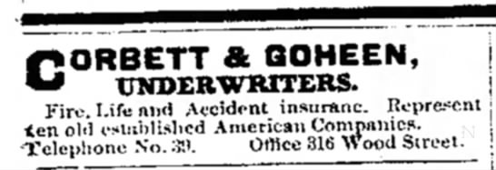 goheen underwriters dated 28 sept 1900 -