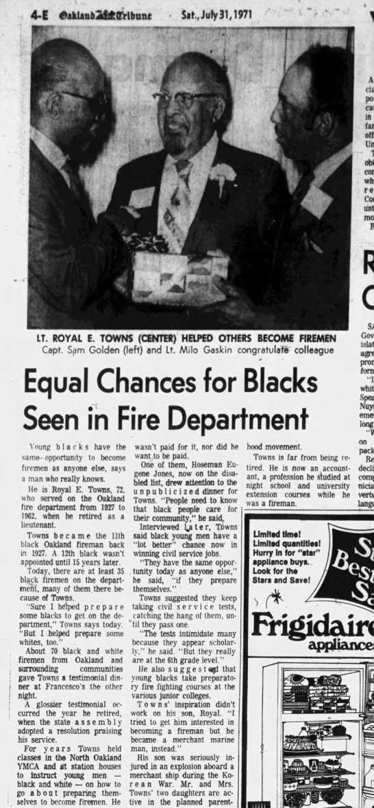 Equal Chances for Blacks Seen in Fire Department Jul 31 1971 -