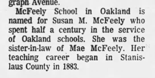 McFeely School named for Susan McFeely - Jun 13, 1971 -