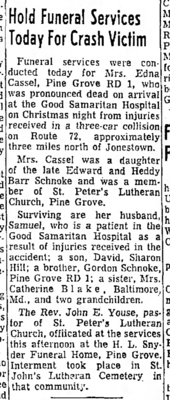 Schnoke Edna funeral notice Leb Daily News 28 Dec 1967 - iold Funeral Services oday For Crash Victim...