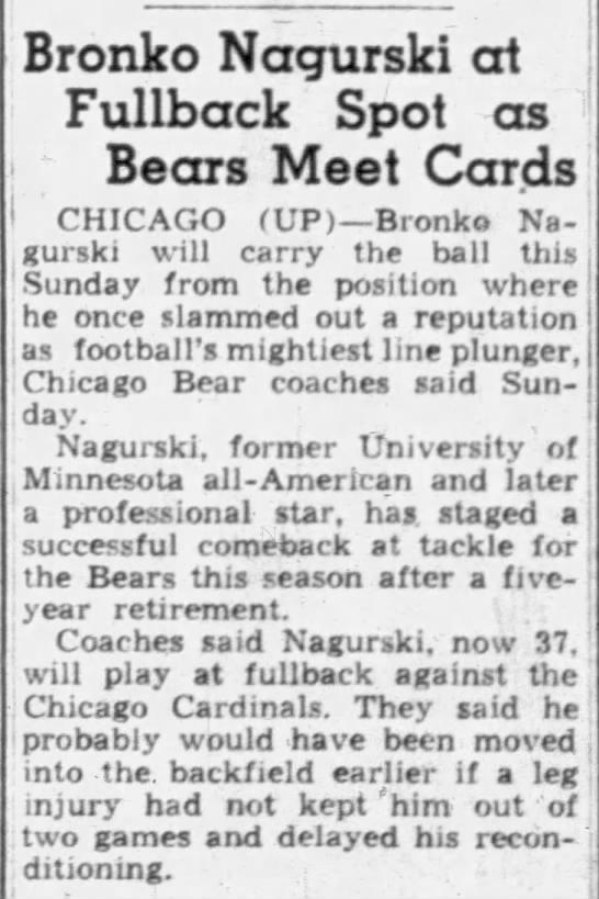 Bronko Nagurski at Fullback Spot as Bears Meet Cards -
