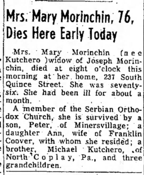 - Mrs, Mary Morinchin, 76, Dies Here Early Today...