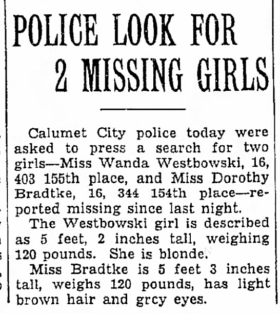 Dorothy Bradtke, 16, missing in 1937 - Newspapers com