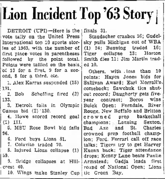 Lion Incident Top '63 Story -
