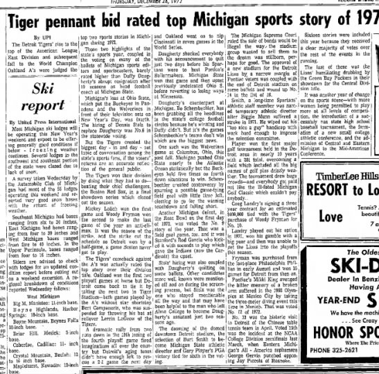 Tiger pennant bid rated top Michigan sports story of 1972 -