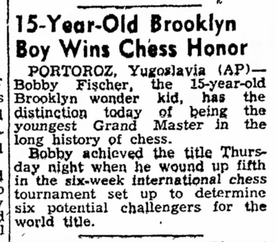 15-Year-Old Brooklyn Boy Wins Chess Honor -
