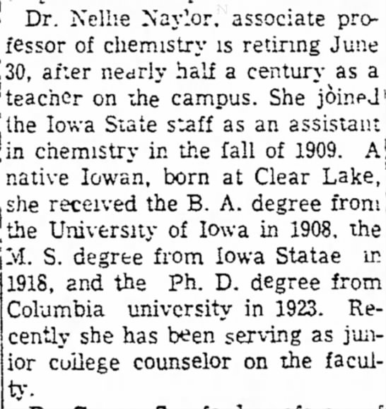 Announcement of Nellie Naylor's retirement in 1955. -