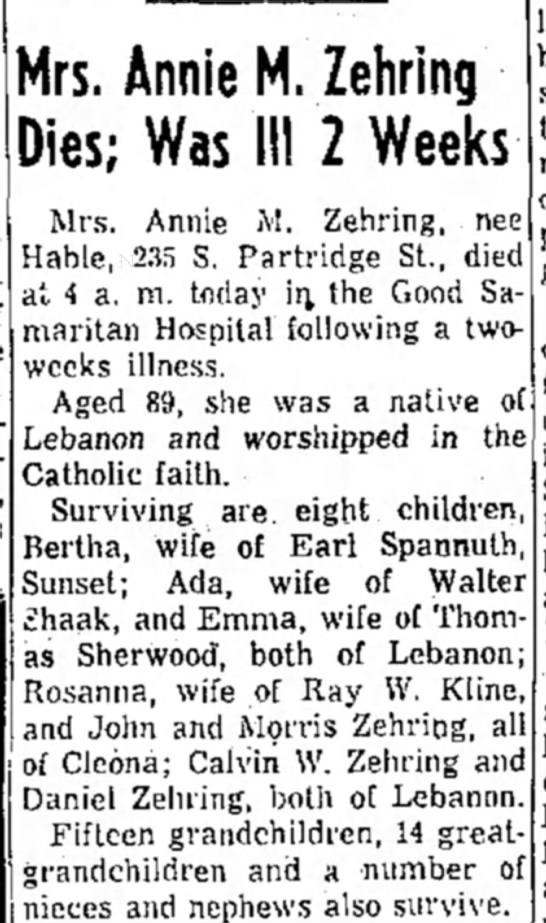Annie M. Hable Zehring Obituary - 12 Feb 1964 page 2 Lebanon Daily News  -
