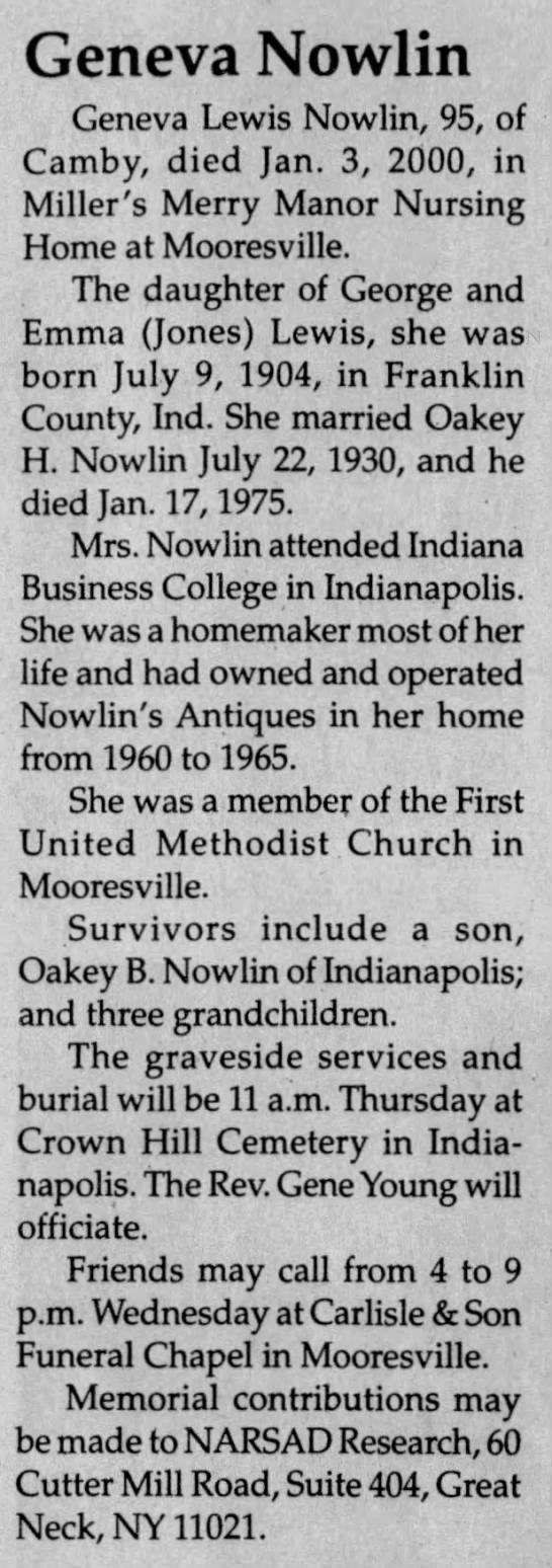 Obituary: Geneva Nowlin nee Lewis , 1904-2000 (Aged 95) -