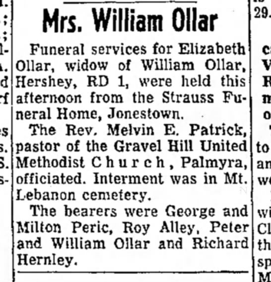 - S. Mrs. William Ollar Funeral services for...