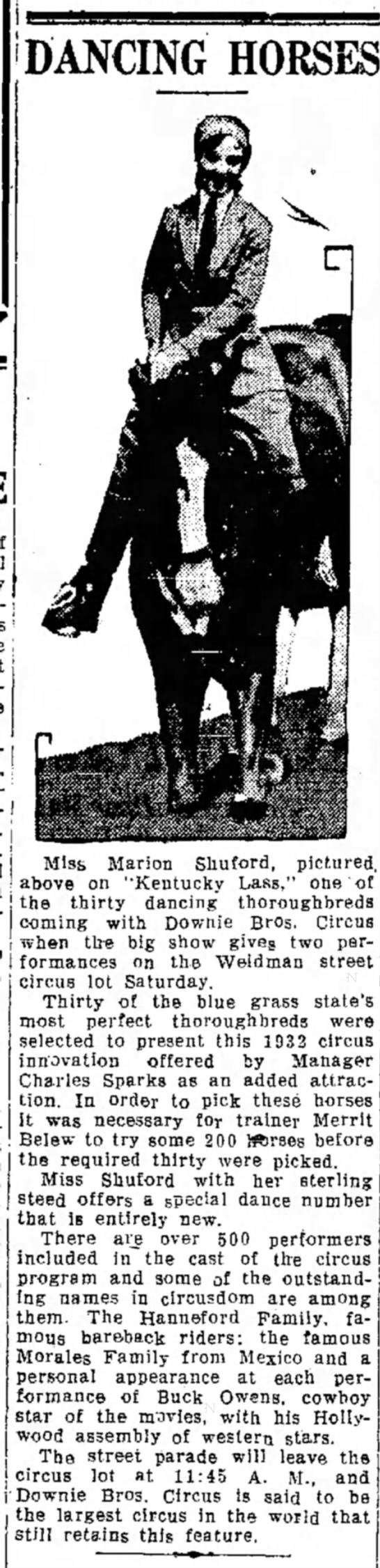 Sparks Equestrian 7-29-1932 - DANCING HORSES Mis, Marion Shuford. pictured....