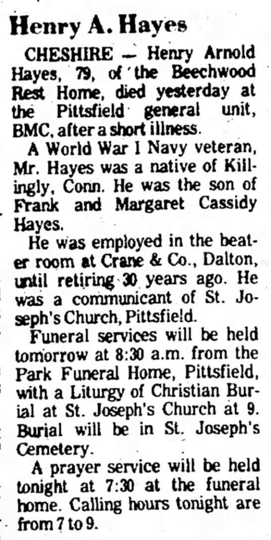 Henry Arnold Hayes Obituary BE, 2 Jun 1975, pg 17 -