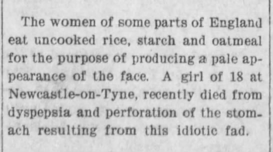 Did eating uncooked rice cause dyspepsia? 1903 -