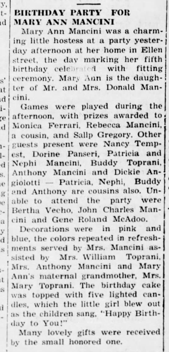 Mary Ann Mancini fifth birthday party - 28 July 1944, Daily Republican, Monongahela, Pennsylvania -