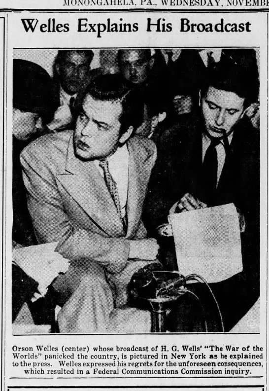 Orson Welles meets with the press to explain intentions of War of the Worlds -
