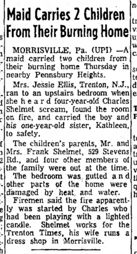 How Uncle Charlie set the house on fire when he was 4. - Maid Carries 2 Children From Their Burning Home...