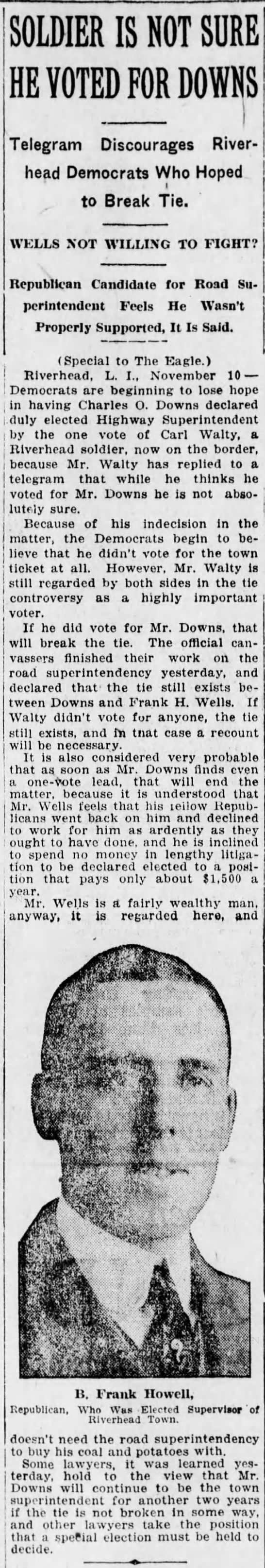 Nov 10,1916 Charles O Downs ..Recount up in the aur if he won Brooklyn Eagle  -