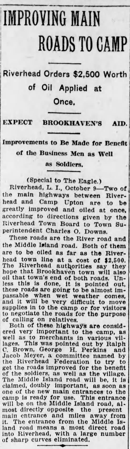 Charles O Downs Superintendent Hwy 1917 Riverhead -