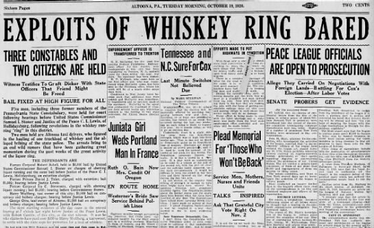 Harry Wolfberg involved in whisky ring-19 October 1920 -