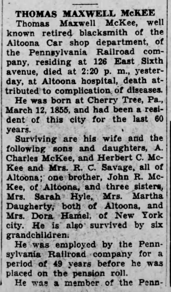 Thomas McKee_1_Altoona Tribune_2 Feb 1932 -