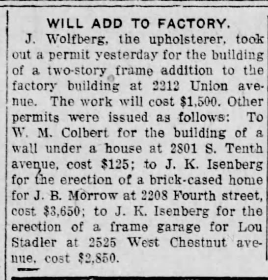 J. Wolfberg adds to factory-29 November 1919 -