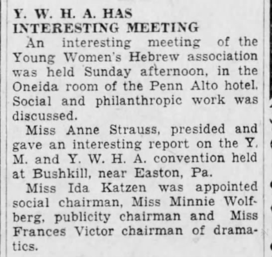 Minnie ic publicity chairman for YWHA-9 Sept1930 -