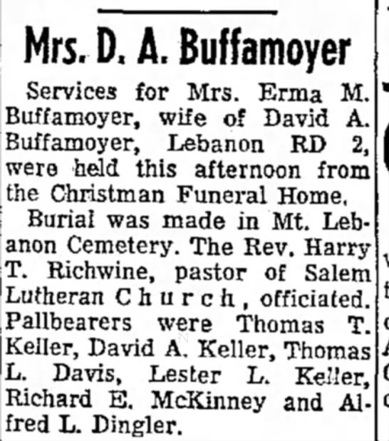 Erma Shay Buffamoyer funeral notice 24 Oct 1970 -