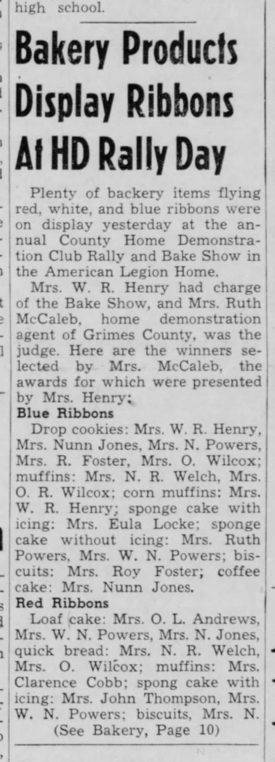 Marie Wilcox Welch baking contest. -