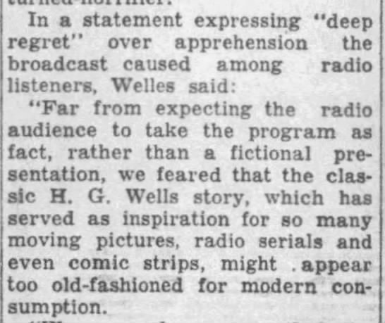 "Orson Welles thought ""War of the Worlds"" might appear ""too old-fashioned for modern consumption"" -"