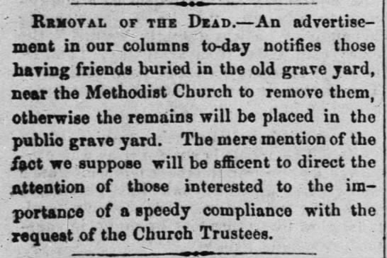 mention of an old graveyard near the Methodist Church that is not Evergreen -