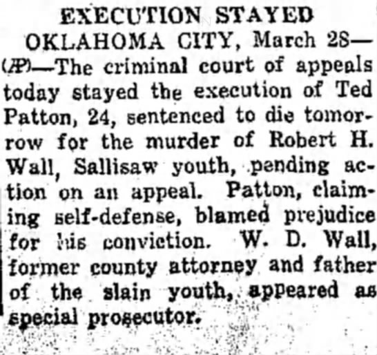 Charles William Patton Robert H Wall Of Sallisaw Ok