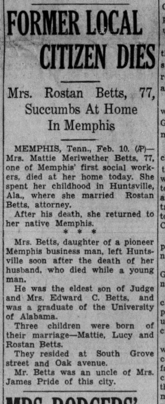 Mrs. Betts Death Announcement ALA -